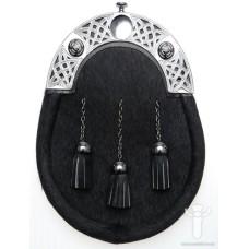 Black Bovine Dress Sporran, Chrome Finish Cantle