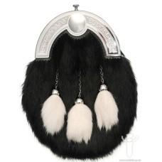 Black Rabbit With 3 White Tassels Dress Sporran