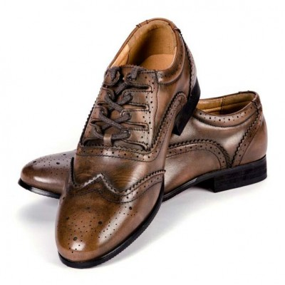 Men's Brown Distressed Ghillies Brogues - Leather Upper with Man made Sole