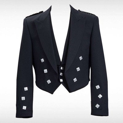 Black Prince Charlie Jacket & 3 Silver Button Vest