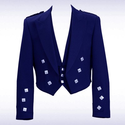 Navy Blue Prince Charlie Jacket & 3 Silver Button Vest
