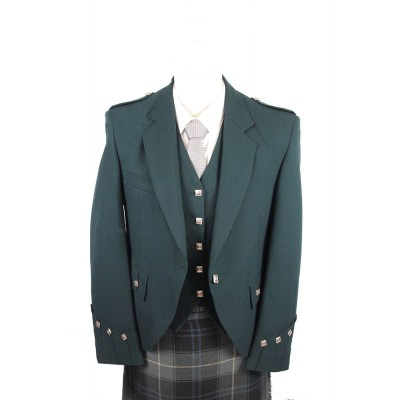 Bottle Green Argyll Jacket & 5 Button Vest