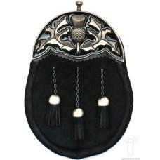 Black Bovine Dress Sporran, Antique Black Enamel Finish Cantle