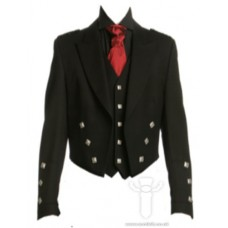 Black Prince Charlie Jacket & 5 Silver Button Vest