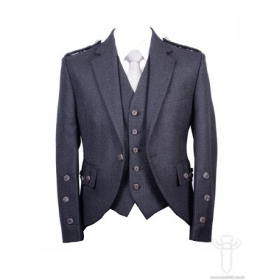 Charcoal Tweed Braemar Jacket & 5 Button Vest
