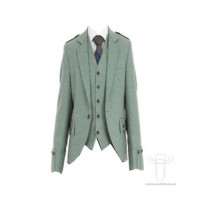 Lovat Green Tweed Argyll Jacket & 5 Button Vest