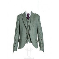 Lovat Green Tweed Braemar Jacket & 5 Button Vest