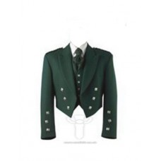 Bottle Green Prince Charlie Jacket & 5 Silver Button Vest